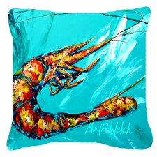 Shrimp Teal Shrimp Indoor/Outdoor Throw Pillow