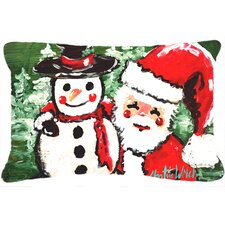 Friends Snowman and Santa Claus Indoor/Outdoor Throw Pillow