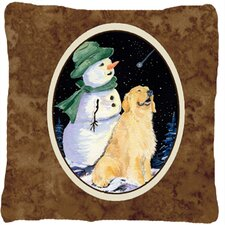Golden Retriever with Snowman in Green Hat Indoor/Outdoor Throw Pillow