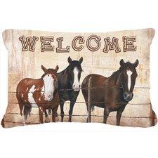 Welcome Mat with Horses Indoor/Outdoor Throw Pillow