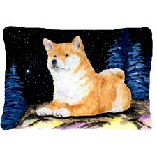 Starry Night Shiba Inu Indoor/Outdoor Throw Pillow