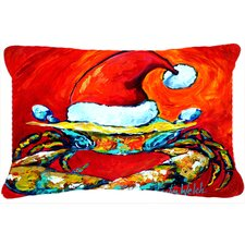 Crab in Santa Hat Santa Claws Indoor/Outdoor Throw Pillow