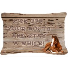 Kick Off Your Boots and Stay A While Indoor/Outdoor Throw Pillow