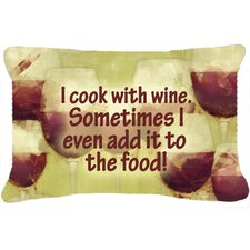 I Cook with Wine Indoor/Outdoor Throw Pillow