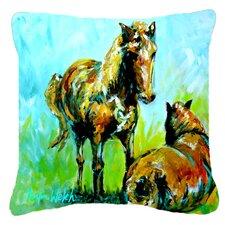Today Sale Only Horse Grazin Indoor/Outdoor Throw Pillow