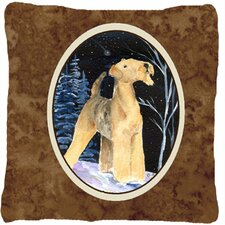 Starry Night Airedale Indoor/Outdoor Throw Pillow