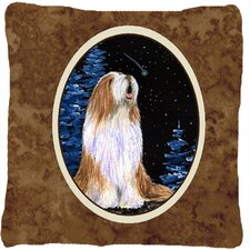 Starry Night Bearded Collie Indoor/Outdoor Throw Pillow