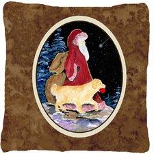 Santa Claus with Golden Retriever Indoor/Outdoor Throw Pillow