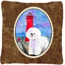 Lighthouse with Bichon Frise Indoor/Outdoor Throw Pillow