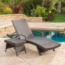 Peyton Adjustable Wicker Chaise Lounge and Table Set