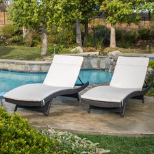 Discount Peyton Adjustable Wicker Chaise Lounge with Cushion (Set of 2)