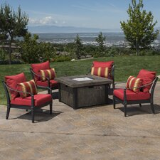 Portsmouth 5 Piece Fire Pit Set with Cushions