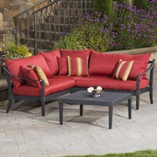 Portsmouth 4 Piece Corner Sectional and Conversation Table Seating Group with Cushions