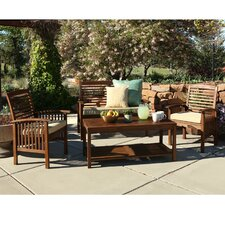 Widmer 4-Piece Dark Brown Acacia Patio Conversation Set with Cushions
