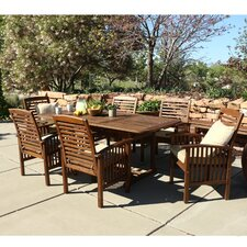 Widmer 7-Piece Dark Brown Acacia Patio Dining Set with Cushions