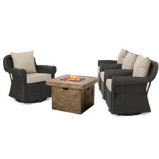 Jillian 5 Piece Rocking Chair with Gas Fire Pit Set