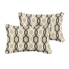 2017 Online Bank Beige Black Indoor/ Outdoor 13 Inch X 20 Inch Pillows - Flange