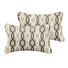 Bank Beige Black Indoor/ Outdoor Lumbar Pillow (Set of 2)