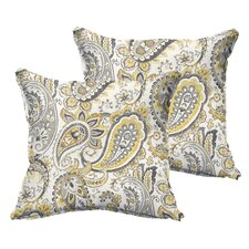 Frosses Paisley Flange Indoor/Outdoor Throw Pillow (Set of 2)