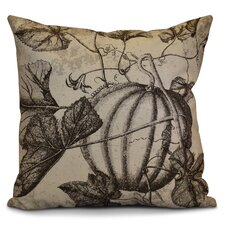 Miller Antique Pumpkin Floral Outdoor Throw Pillow