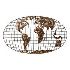 Penshire Wall Mounted World Map Sculpture