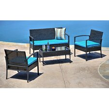 Fayette 4 Piece Wicker Seating Group with Cushion