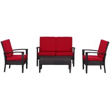 Outdoor 4 Piece Deep Seating Group with Cushions