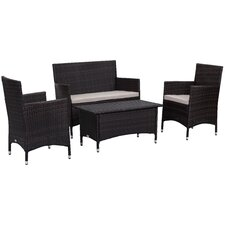 Herry Up Mckeever Outdoor 4 Piece Deep Seating Group with Cushions