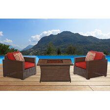 Abraham Woven Fire Pit 3 Piece Deep Seating Group with Cushion
