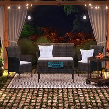 Bentz Outdoor 4 Piece Conversation Set with Cushion