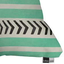 Mouton Mint Stripes and Arrows Outdoor Throw Pillow