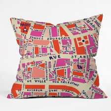 Davila Paris Map Pink Indoor/Outdoor Throw Pillow