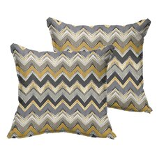 Murrah Chevron Flange Square Indoor/Outdoor Throw Pillow (Set of 2)