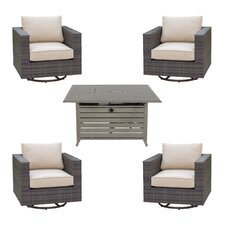 Lara 5 Piece Deep Seating Group Set with fire pit
