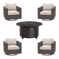 2017 Sale Lara 5 Piece Deep Seating Group Set with fire pit