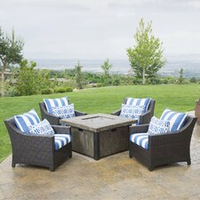 Wagaman 5 Piece Fire Pit Set with Cushions