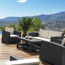 Vedder 4 Piece Resin Patio Sofa Seating Group with Cushion