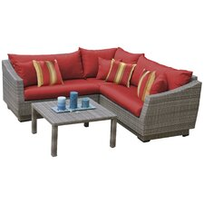 Wonderful Alfonso 4 Piece Corner Sectional Seating Group with Cushions