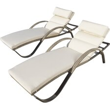 Alfonso Chaise Lounge with Cushion (Set of 2)