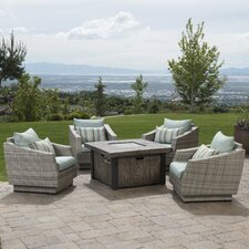 Alfonso 5 Piece Deep Seating Group with Fire Table & Cushions