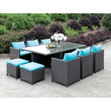 11 Piece Dining Set with Cushions