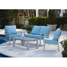 Julien Brushed Aluminum Patio Furniture 4 Piece Deep Seating Group with Cushion