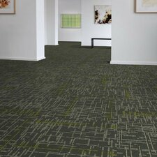 "Saga 24"" x 24"" Carpet Tile in Gray/Yellow"