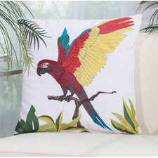 Red Parrot Outdoor Throw Pillow