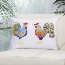 Double Rooster Outdoor Throw Pillow