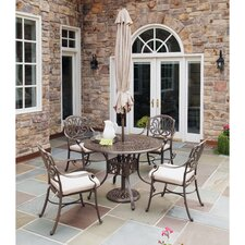 Lorna 5 Piece Dining Set with Umbrella