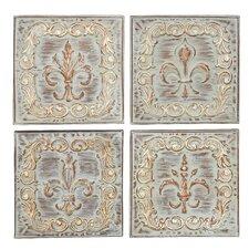 4 Piece Brown/Ivory Metal Wall Decor Set