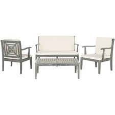 Today Sale Only South Apopka 4 Piece Lounge Seating Group with Cream Cushions