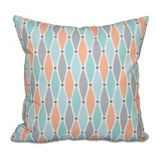 Surrey Wavy Splash Geometric Print Outdoor Throw Pillow