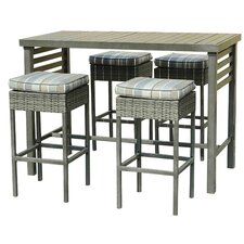 Lake Forest 5 Piece Counter Height Bar Table Set with Cushion